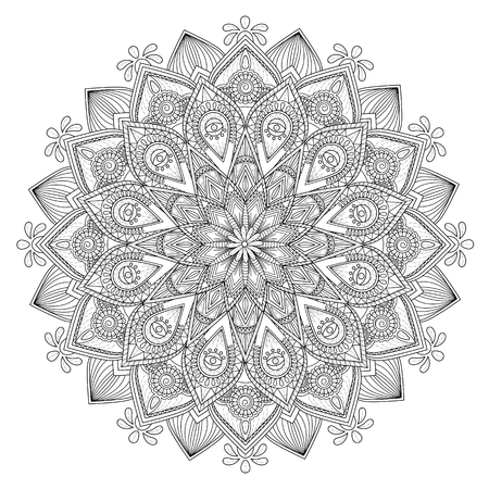 Decorative Mandala ornament, exquisite outline floral design for coloring page Illustration