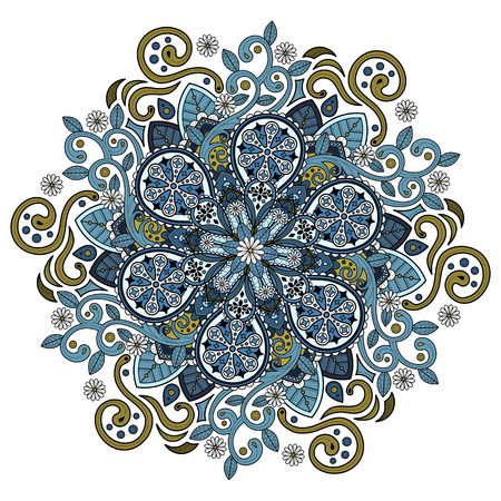 Decorative Mandala ornament, colored beautiful floral design for coloring page