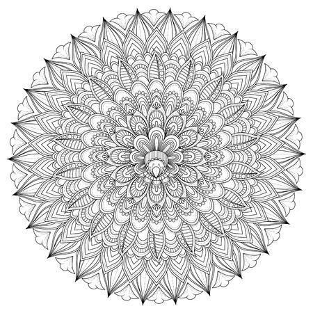 exquisite: Decorative Mandala ornament, exquisite outline floral design for coloring page Illustration