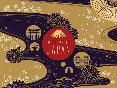 Elegante del cartel del viaje de Japón, fondo floral preciosa, con palabras de bienvenida