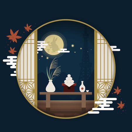 日本観光ポスター、丸い窓の外の月お祭り風景