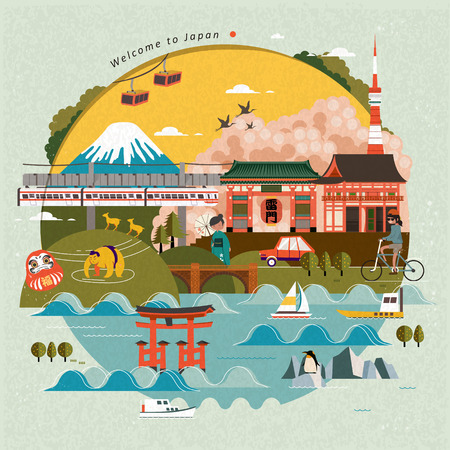 Lovely Japan travel poster, beautiful scenery with attractions. Thunder Gate japanese name on the lantern