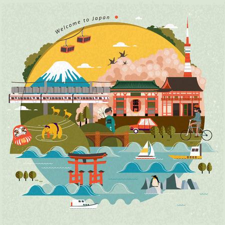 Preciosa cartel del viaje de Japón, un hermoso paisaje con atracciones. Puerta del Trueno nombre japonés en la linterna Ilustración de vector