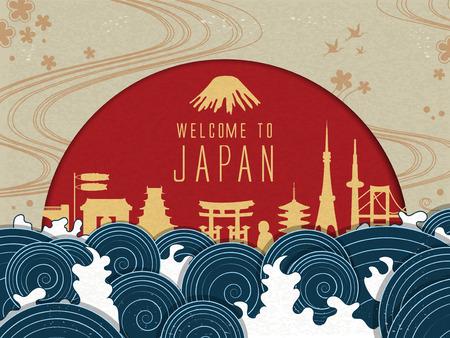 Elegante Japan reis poster met rode zon en mooie getijden