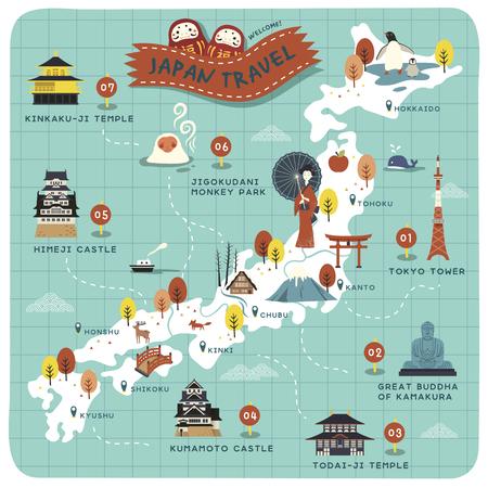 Carte de voyage du Japon, sites historiques sur une belle carte Banque d'images - 62022470