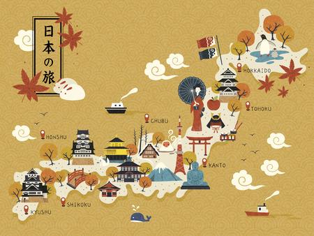 mapa de la japonesa, lugares de interés histórico en el mapa, los viajes a Japón en japonés en la parte superior izquierda