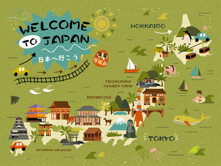 an island tradition: Japan travel map, famous attractions on the island, Lets go to Japan words in Japanese