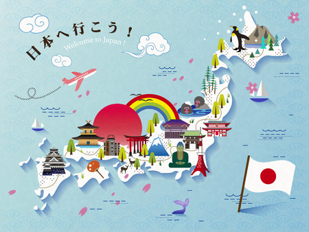 Lovely Japan travel map design, Let's go to Japan in Japanese on the upper left