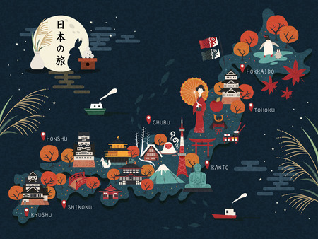 an island tradition: Japan travel map, attractive landmarks and culture elements