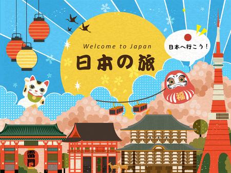 Belle Giappone manifesto di viaggio con attrazioni famose. Giappone parole viaggiare e andiamo in Giappone in giapponese nel mezzo. Lucky Parole sulla Daruma e tuoni Porta nome giapponese sulla lanterna