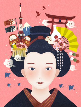 hair accessories: Japanese beautiful geisha, landmarks and hair accessories on her head