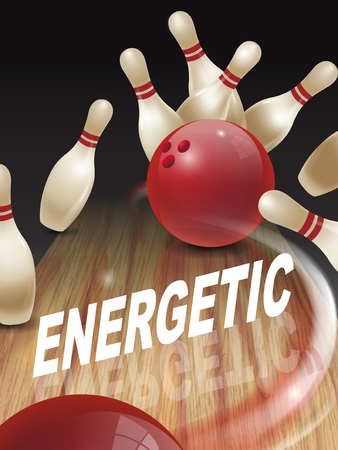 energetic: strike bowling 3D illustration, energetic words in the middle