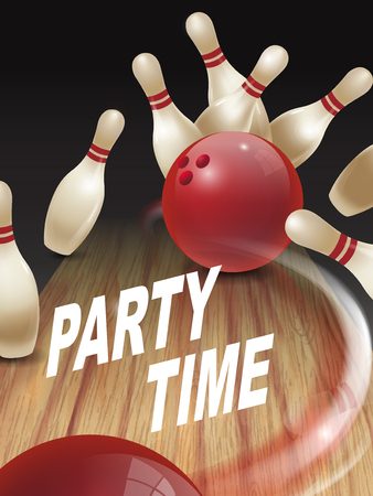 strike bowling 3D illustration, party time words in the middle Illustration