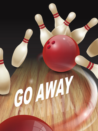 deviate: strike bowling 3D illustration, go away words in the middle Illustration