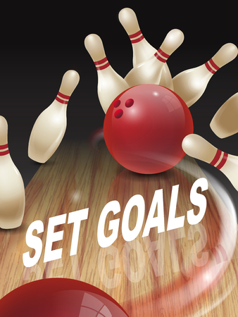 dominant: strike bowling 3D illustration, set goals words in the middle Illustration