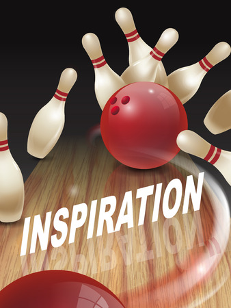 dominant: strike bowling 3D illustration, inspiration words in the middle Illustration