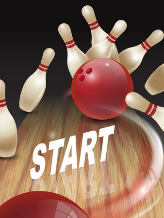 dominant: strike bowling 3D illustration, start words in the middle Illustration