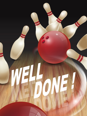 acclaim: strike bowling 3D illustration, well done words in the middle