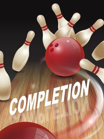 accomplish: strike bowling 3D illustration, completion words in the middle Illustration