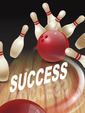 dominant: strike bowling 3D illustration, success words in the middle