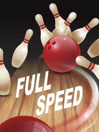 dominant: strike bowling 3D illustration, full speed words in the middle Illustration