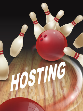 hit tech: strike bowling 3D illustration, hosting words in the middle Illustration