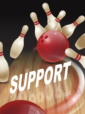 contentment: strike bowling 3D illustration, support words in the middle