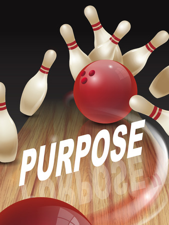 strike bowling 3D illustration, purpose words in the middle