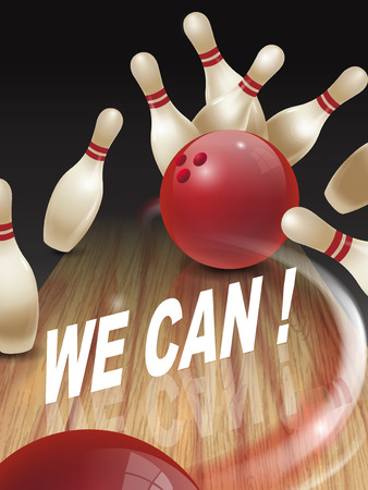 we: strike bowling 3D illustration, we can words in the middle Illustration