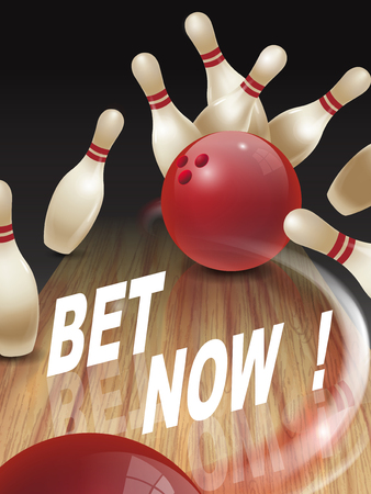 bet: strike bowling 3D illustration, bet now words in the middle Illustration