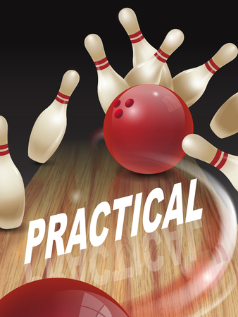 functionary: strike bowling 3D illustration, practical words in the middle