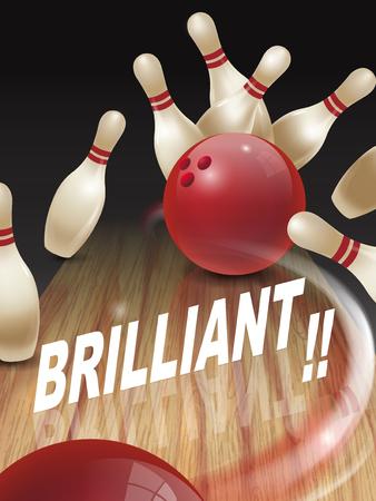 brilliant: strike bowling 3D illustration, brilliant words in the middle Illustration