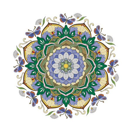 exquisite: Decorative Mandala ornament, exquisite colorful floral design for coloring page Illustration