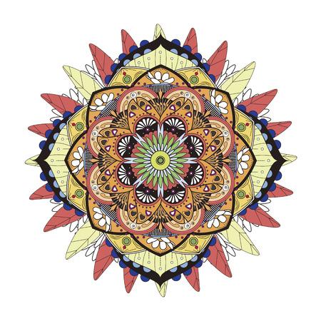 Decorative Mandala ornament, exquisite colorful floral design for coloring page Illustration