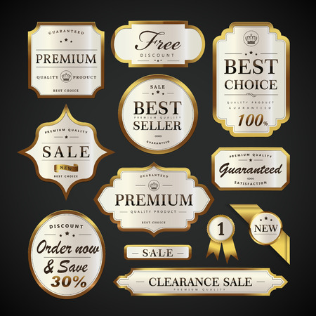 golden frame: Elegant pearl white labels set, glossy labels with golden frame over black background