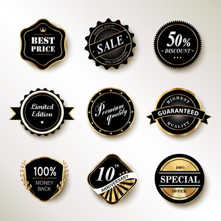 exquisite: Exquisite labels set, black labels with golden frame Illustration