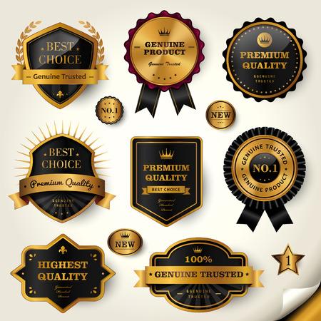 高級黒ラベル セット、黄金のフレームに光沢のあるラベル  イラスト・ベクター素材