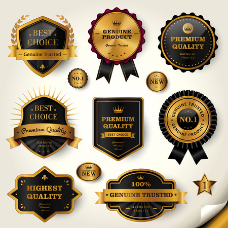 Luxury black labels set, glossy labels with golden frame