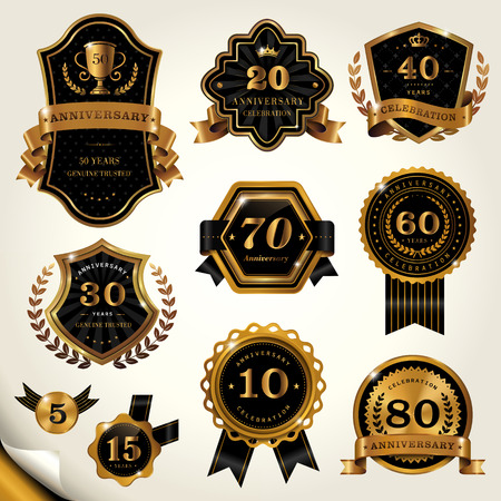 golden frame: Gorgeous labels set, glossy black labels with golden frame
