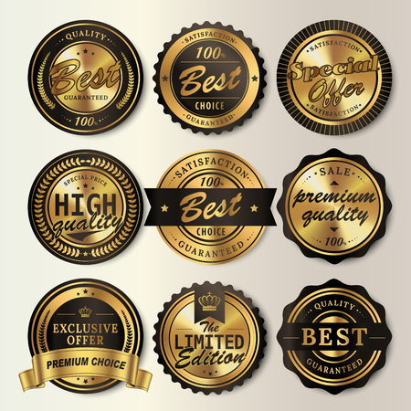 Gorgeous shining labels set, glossy round labels with black frames Illustration
