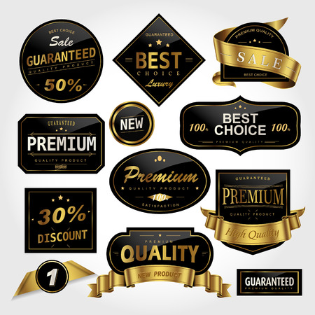 Luxe zwarte etiketten set, glanzende etiketten met gouden frame Stockfoto - 63605305