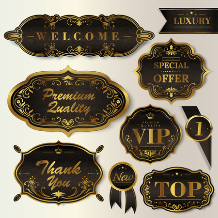 Luxury black labels set, glossy labels with exquisite golden frame Illustration