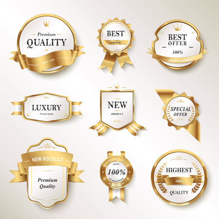 Elegant pearl white labels set, glossy labels with golden frame over beige background Ilustrace