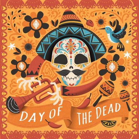 Dag van de dode poster, Mexicaanse suikerschedel met instrument Stock Illustratie