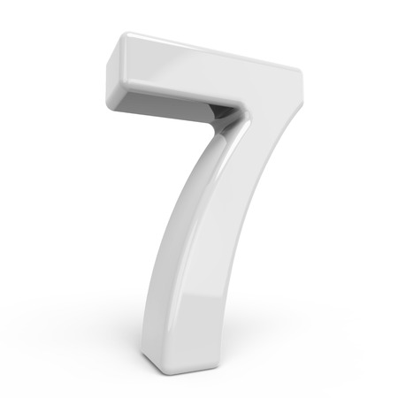 number 7: 3D rendering white number 7 isolated on white background