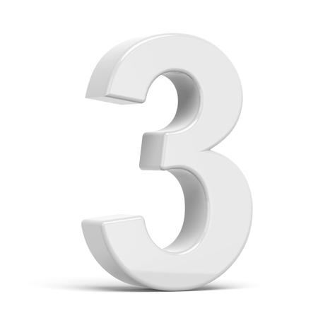 number 3: 3D rendering white number 3 isolated on white background Stock Photo
