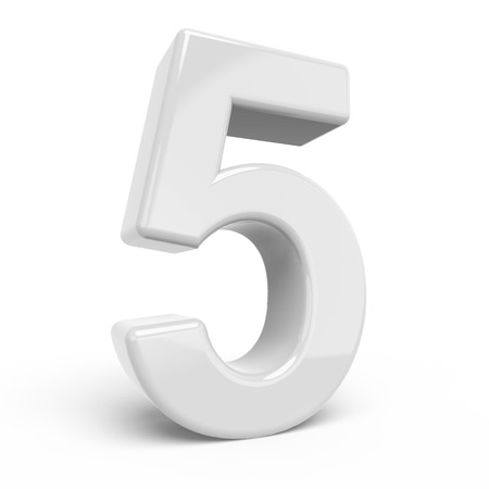 number 5: 3D rendering white number 5 isolated on white background