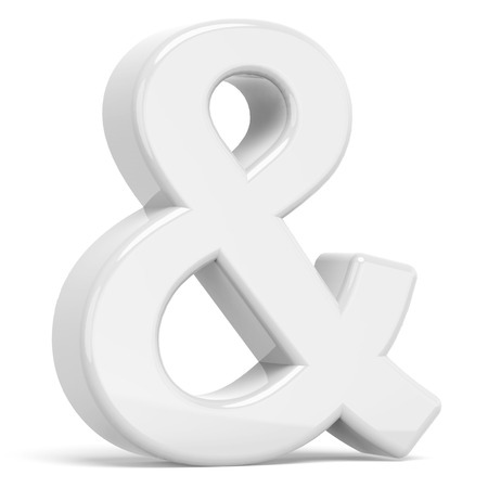 3D rendering white ampersand symbol isolated on white background Stok Fotoğraf
