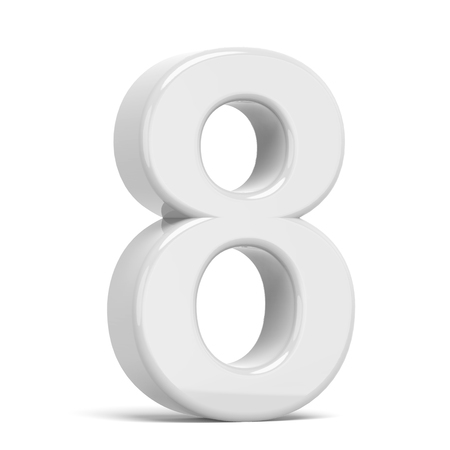 number 8: 3D rendering white number 8 isolated on white background