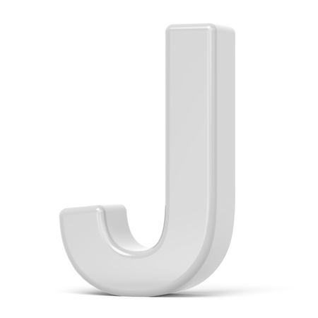 3d Rendering White Letter J Isolated On White Background Stock Photo